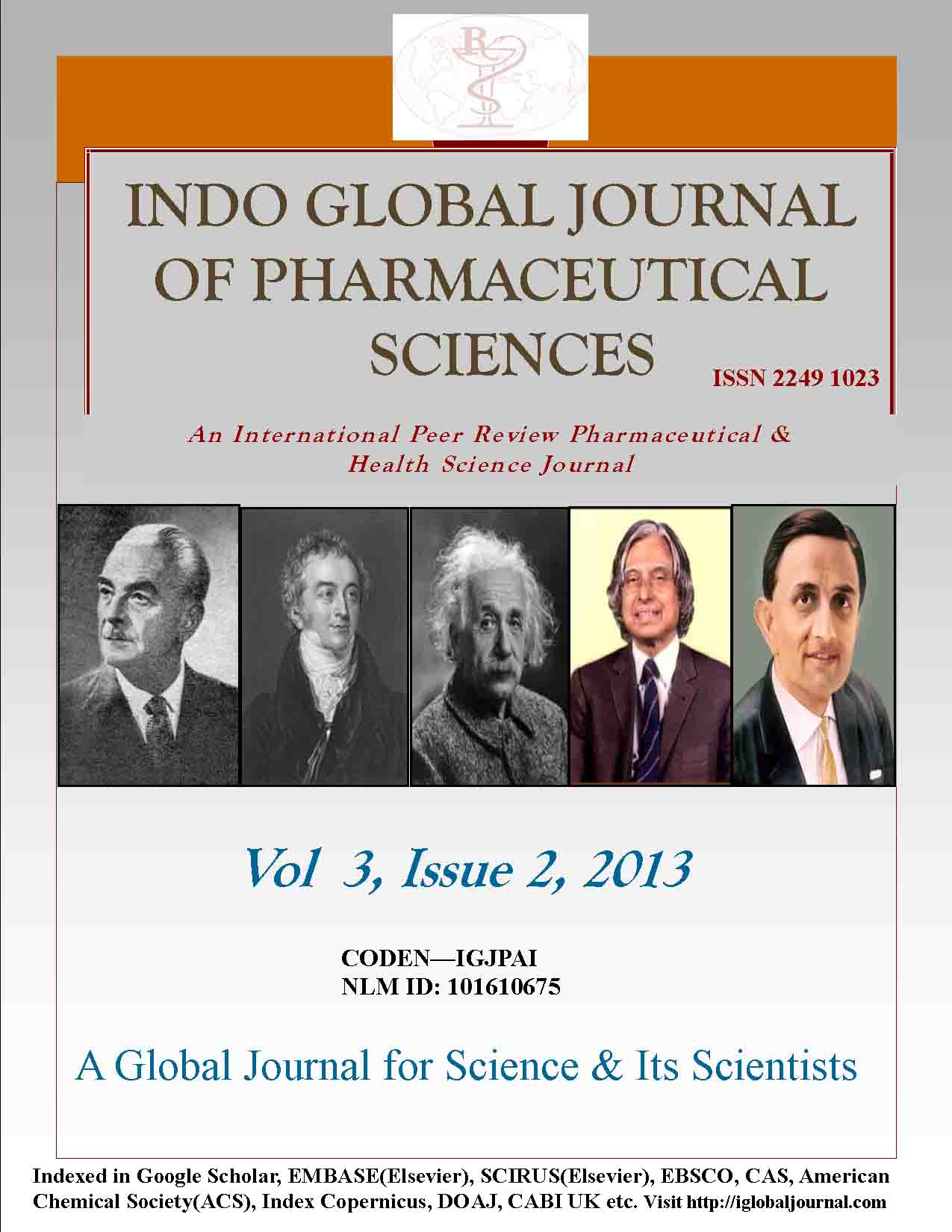 IGJPS, Vol 3, Issue 2, 2013 Cover Page