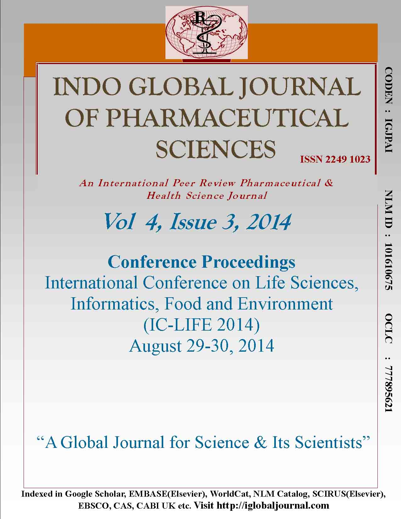Front Cover IGJPS 2014, Vol 4, Issue 3